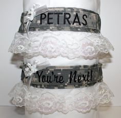 This shop is great if you want a special personalized gift for yourself or your military man. I ordered my wedding garter in the blue camo for my Sailor and put our last name on it. Great quality product and extremely fast delivery! I recommend this shop to anyone. Military Bridal Garter Set - Army, Navy, Marines & Air Force on Etsy, $38.99