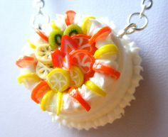 Polymer Cake Necklace , Food Clay Charm Pendant, Fashion Bead Jewellery, Orange, lemon, Strawberry, Kiwi, Banana