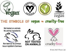 Look for these symbols to ensure you are not buying products that have been tested on animals.