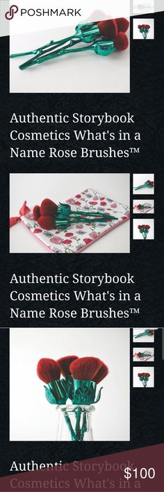 Rose brushes storybook cosmetics This set offour rosebrushes have stunning scarlet ombre cruelty-free synthetic bristles and gorgeousgreenrose steammetal alloy handles. Each set includes a tapered highlighting brush, angled contour/blush brush, flat top powder brush, and a dome top powderbrush. They arrive in a customrosepouch for safekeeping. Storybook Cosmetics Makeup Brushes & Tools