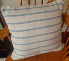 Nautical Stripe Cushion, made from heavy textured natural linen in a size of 20 inches square Cream Cushions, Striped Cushions, Natural Linen, Nautical, Make It Yourself, Color, Navy Marine, Cream Pillows, Colour