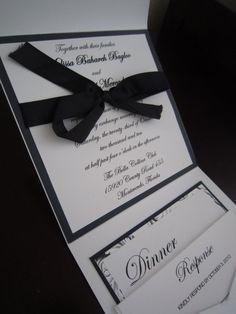 Black and White Wedding Invitation by AnnouncementbySandra on Etsy, $7.00