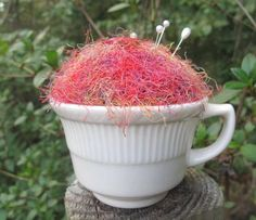Pincushion made from Vintage Cup and Sweater by mimiyaya on Etsy, $7.00