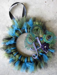 Picky Peacock Initial Tu-Tu Wreath - MADE TO ORDER. $65.00, via Etsy.
