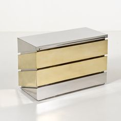Gabriella Crespi; Brass and Chromed Metal Dresser, 1972.