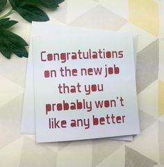 new job card, funny card, leaving card, good luck card, card for colleague, goodbye card, leaving gift, new job gift, work card, by AprilDaysDesigns on Etsy