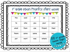 Complete set of 1st Grade Saxon sight words in order of sight word introduction.