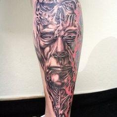 Face Skull Biomech Tattoo by on DeviantArt Face Tattoos, Leg Tattoos, Girl Tattoos, Tattoos For Guys, Tattoos For Women, Tatoos, Biomech Tattoo, Biomechanical Tattoo Design, Calf Tattoo Men