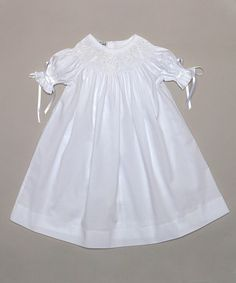 White Ruffle-Sleeve Smocked Bishop Dress - Infant & Toddler by Classy Couture #zulily #zulilyfinds