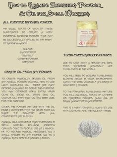 Create Banishing Powders Oils