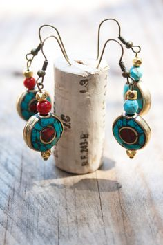Tibet turquoise and Red Coral earrings brass Boho by MartaDissenys, €10.00