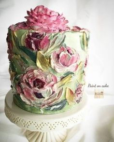 """Edible Art """" Paint on cake """" With this style you can let your imagination fly Buttercream Another side. Edible Art """" Paint on cake """" With this style you can let your imagination fly Buttercream paint with knife palette. Gorgeous Cakes, Pretty Cakes, Cute Cakes, Amazing Cakes, Cake Decorating Designs, Cake Decorating Techniques, Cake Designs, Fancy Cakes, Mini Cakes"""