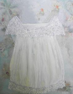 OIL PAINTING Vintage White Dress Custom Impasto by KenziesCottage, $150.00