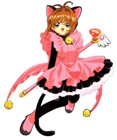Sakura's Pink Kitty Costume (Episode 8) 	Featured in: Episode 8 Card Captured: Thunder Contains: Cat Ears, Pink Rubber Apron featuring Ribbon, Three Golden Bells, Black Body Suit, Cat Tail, Pink and Black Rubber Boots. Check Point: Ribbon & Ears    Kero's Item: Jingle Bell