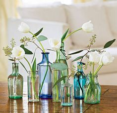 antique bottles, blue, decorate, flower, flower arrangement, flowers-  it's really east to paint the vases of fill them with colored water