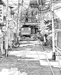 I need to get into urban sketching! Concept Art Landscape, Landscape Drawings, Architecture Drawings, Urban Landscape, Art And Illustration, Art Sketches, Art Drawings, Environment Sketch, City Sketch