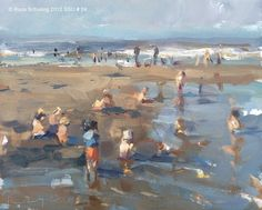 """""""Seascape summer No.  23 Seaside crowded with children (sold)"""" - Original Fine Art for Sale - © Roos Schuring"""