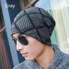 Plaid knit hats autumn or winter beanie hats for men