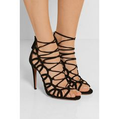 Aquazzura Oh Lala lace-up suede sandals ($765) ❤ liked on Polyvore featuring shoes, sandals, black sandals, black high heel sandals, high heel sandals, black lace up shoes and black caged sandals