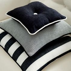 Clarke and Clarke - Riviera Fabric Collection - Black and white striped cushions on white upholstery Black And White Cushions, Black And White Fabric, White Sofas, Black White, Upholstery Cushions, Outdoor Cushions, Cushions On Sofa, Outdoor Pillow, Pillows