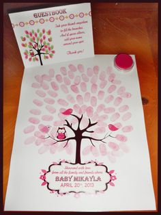 Owl Theme Guestbook Thumbprint Keepsake  by MyPreciousArrival, $18.00