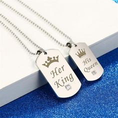 Her King & His Queen Couple Necklace Item Type: King & Queen NecklacesFine or Fashion: FashionPendant Size: check the pictureStyle: Cute/Romantic His And Hers Necklaces, Couple Necklaces, Diamond Cross Necklaces, Diamond Solitaire Necklace, King Y Queen, Matching Couple Bracelets, Cute Boyfriend Gifts, Keep Jewelry, Couple Gifts