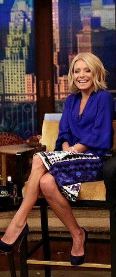 Kelly Ripa: Shirt – Diane von Furstenberg  Skirt – Peter Pilotto  Shoes – Nicholas Kirkwood  Jewelry – Shop Vale
