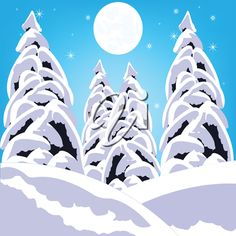 Illustration winter wood on white background is insulated