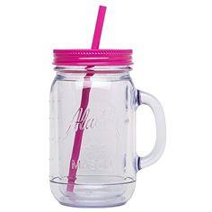 Tumbler Pink Aladdin Classic Insulated Mason 20 oz New Solid Pink Straw Mason Jar Cups, Mason Jar Tumbler, Cute Water Bottles, Cute Cups, Coffee Cups, Iced Coffee, Tea Pots, Mugs, Tableware