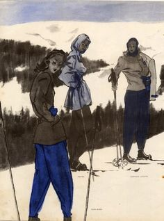 1945 Skiing, Fashion Illustration Illustrator:   Pierre Mourgue Brands: Germaine Lecomte, Hermès (Sportswear), Véra Boréa, Mendel, André Ledoux