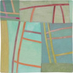 Structures #141 ©2012 Lisa Call12 x 12  inches Textile Painting (Fabric hand dyed by the artist,