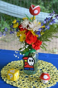 Centerpieces for video game wedding. Video Game Wedding, Video Game Party, Wedding Games, Wedding Videos, Wedding Planning, Video Games, Anime Wedding, Geek Wedding, Our Wedding