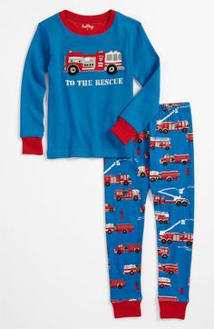 Hatley 'Fire Trucks to the Rescue' Fitted Two Piece Pajamas (Toddler) available at #Nordstrom William