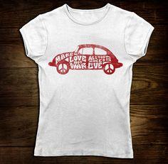 Women's Love Bug Tshirt VW Bug Beetle Vintage Typography Love is All We Need Shirt Sizes S-XL