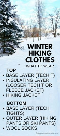 Hiking essentials for cold weather hiking clothes and gear. Base layer tech t and tights, hiking pants, ski pants, wool socks. Travel ideas for what to wear hiking in cold weather winter vacation and what to pack for day hike and beginners hiking Winter Layering Outfits, Outfits Winter, Winter Travel Outfit, Winter Clothes, Layering Clothes, Camping Packing, Camping Outfits, Packing List For Travel, Camping Tips