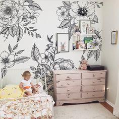 Flores del Sol Mural (Peel & Stick) - SAMPLE 11.75\ W x 30\ H