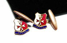 Knights of the Templar Cuff Links - Malta with Red and Sheild - Fraternity Maltese Cross - Enamel Masonic Cufflinks - Mens Vintage Jewelry #bestofetsy #etsy #etsyseller #jewellery #etsymntt #etsyretwt #fashion #teamlove #vintage #jewelry