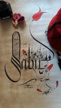 """Kaligrafi Tasarım"""" Sabır """" yazısı"""
