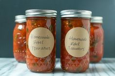 Rotel tomatoes are canned tomatoes with a little hint of heat Preserving Tomatoes, Preserving Food, Canning Tomatoes, Canning Beans, Canning Soup, Canning Salsa, Canning Vegetables, Veggies, Sauces