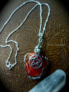 Fire Agate Pentacle Necklace by EireCrescent on Etsy, $24.99