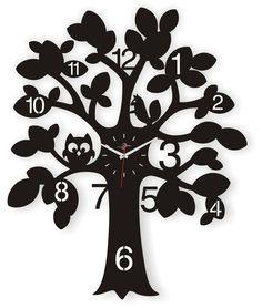 Janya Design Owl and Racoon In Tree Wrought Iron Wall Clock - Wall Clocks - Lifestyle Lane Clock Face Printable, Vinyl Record Crafts, Cnc, Unusual Clocks, Wood Craft Patterns, Bird House Feeder, Wall Watch, Clock Art, Black Tree