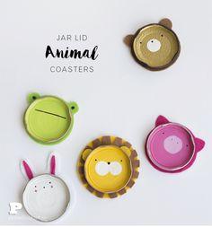 DIY Cute Animal Jar Lid Coasters Tutorial | Pysselbolaget