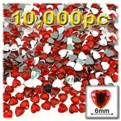 Flatback Rhinestones, Faceted Heart, 6mm, 10000-pc, Ruby Red