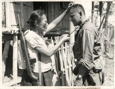 Captain Nieves Fernandez, the only known Filipino female guerrilla leader and school teacher. When the Japanese came to take the children under her care she shot them in the face with her latong . Picture taken in 1944