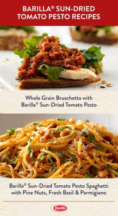 Our Sun-Dried Tomato Pesto pairs perfectly with bruschetta or spaghetti. Create delicious appetizers or tasty dinners with our signature sauce. Entree Recipes, Vegetarian Recipes, Cooking Recipes, Healthy Recipes, Vegetarian Pesto, Italian Dishes, Italian Recipes, Salt Free Recipes, Spaghetti