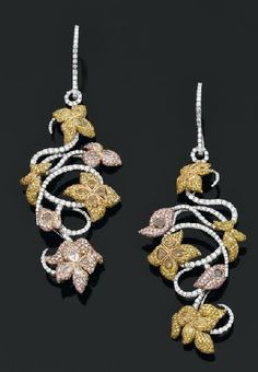 Earrings in white gold entirely set with brilliant-cut diamonds, floral and vine motifs paved in diamonds of multiple colors. Diamonds total 12 carats. (Aguttes)
