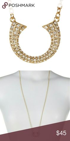 """Rebecca Minkoff Double Tusk Pendant Necklace Details      Pave-set crystals inject edgy glamour into the casual horn-shaped pendant of this long chain-link necklace.      - Gold plated pave crystal double tusk pendant necklace      - Lobster clasp      - Approx. 32"""" length      - Approx. 0.75"""" L x 0.75"""" W pendant      - Imported  Materials      Gold plated zinc, crystal Rebecca Minkoff Jewelry Necklaces"""