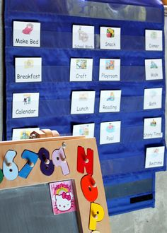 Printable schedule cards can be made into magnets for fridge or put into a pocket chart so kids know what is coming next.