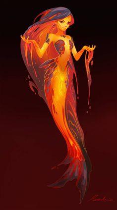 Lava Mermaid by sandara on DeviantArt Dark Fantasy Art, Fantasy Kunst, Fantasy Artwork, Mythical Creatures Art, Mythological Creatures, Fantasy Inspiration, Character Inspiration, Fantasy Character Design, Character Art