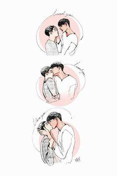 Kaisoo, Chanbaek, Kyungsoo, Chanyeol, Exo Kai, Exo Kokobop, Exo Couple, Couple Art, Jikook